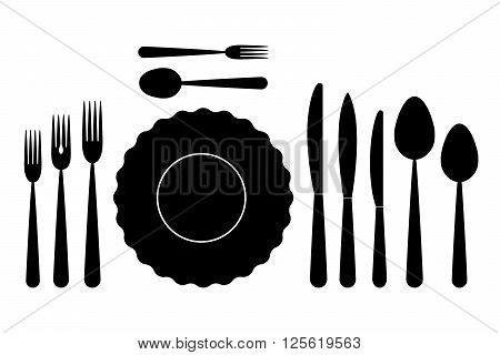 set of dishes, such as plates, forks, spoons and knives on a white background