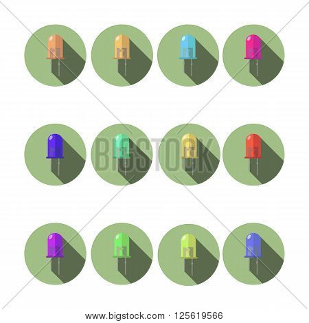 Set of LED. 12 diodes vector illustration