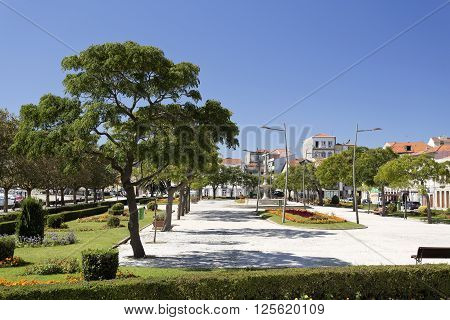 The beautiful public garden in the Republic Square Vila do Conde Portugal