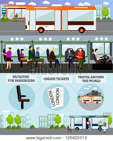 Bus travel passengers concept vector banner. People in Bus. Public transport interior.