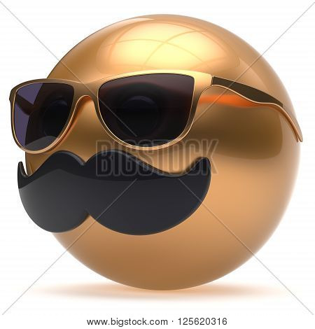 Cartoon face emoticon ball mustache happy joyful handsome person black golden sunglasses caricature. Cheerful eyeglasses laughing fun sphere positive smiley character avatar. 3d render