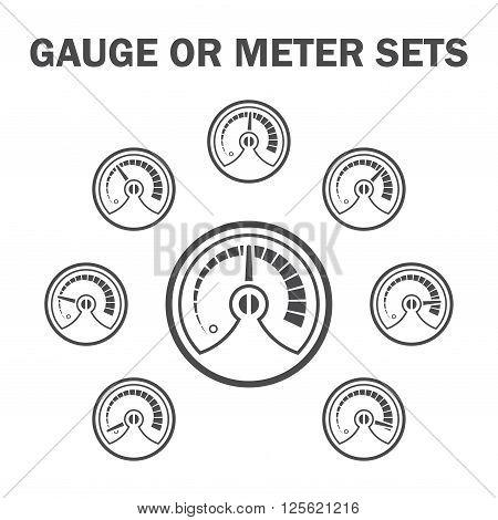 Gauge or meter vector icons sets design.