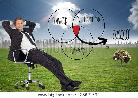 Businessman relaxing in swivel chair against cityscape on the horizon