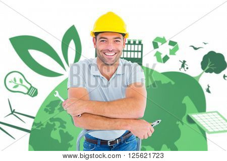 Handyman with hand tools on step ladder against fair trade graphic
