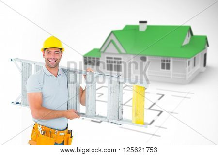 Portrait of smiling repairman carrying ladder against blue house behind an architectural plan