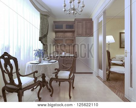 Kitchen classic style with round served table. 3d render