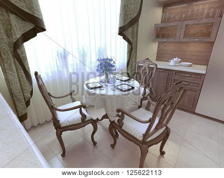 Dining room neoclassicism style, wooden furniture. 3d render