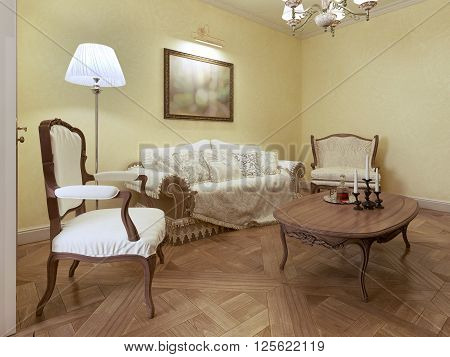 Elegant living room classic style. 3d render