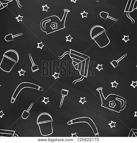 Seamless pattern black chalk board with white children's chalk drawings. Hand-drawn style. Seamless vector wallpaper with the image of kite flying, head, boomerang, star, bucket, shovel, rake