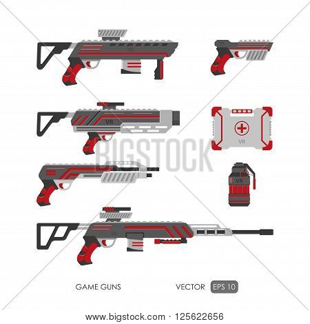 Guns for virtual reality system. Video game weapons set. Video game guns collection. Vector illustration