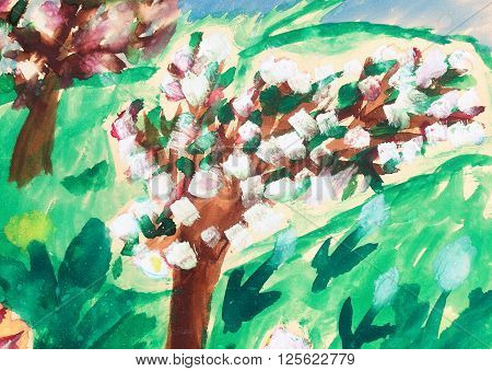 mine child drawing of apple tree garten  in bloom
