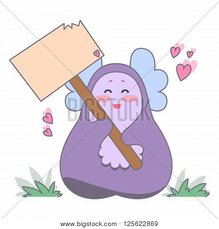 Cute love monster with blank poster. Romantic recognition. Vector illustration.