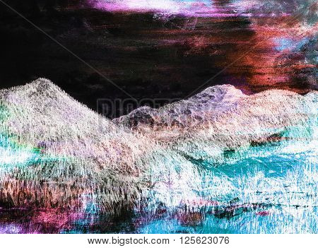 landscape painting on old paper and Color Abstract background