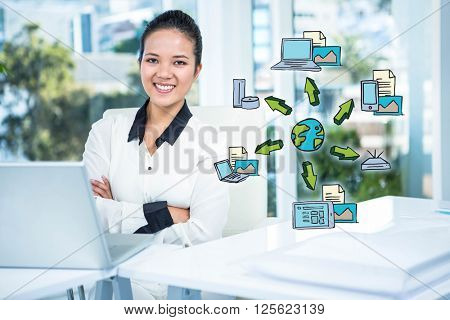 Cloud computing doodle against smiling businesswoman with arms crossed