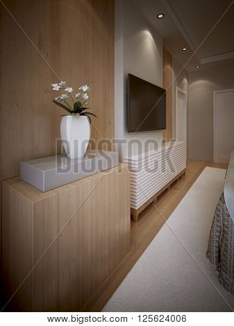 High-tech bedroom interrior with wood panneled walls. 3d render