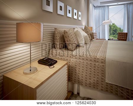 Eclectic bedroom design with panelled walls. 3d render