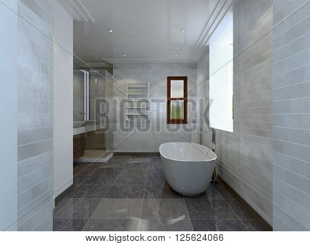 Bathroom in avant-garde style with window in daylight. 3d render