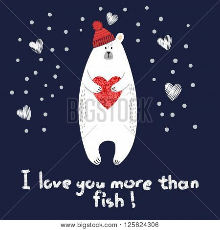 Cute polar bear with red heart. Romantic background. Valentines day vector illustration.