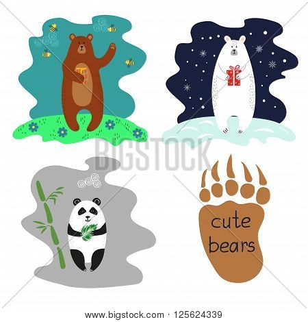 Cute bears set. Polar bear, brown bear and panda. Collection of colorful vector illustrations.