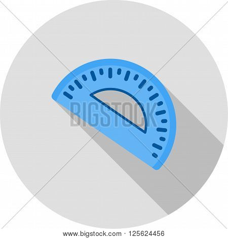 Geometry, maths, protractor icon vector image. Can also be used for stationery. Suitable for use on web apps, mobile apps and print media.