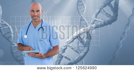 Smiling doctor using tablet computer against view of dna