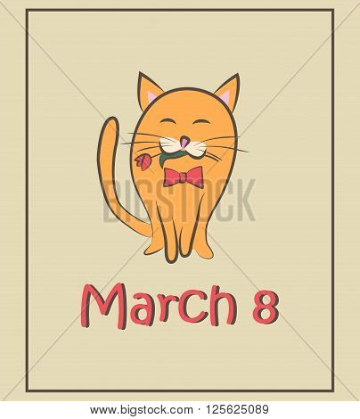 March 8. Cat with tulips. Color card. Vector illustration