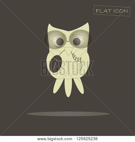 Flat icon light owl with computer mouse in beak on dark background, design element, vector