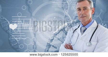Doctor looking at camera with arms crossed against view of dna