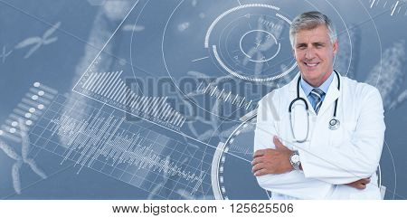Male doctor standing arms crossed against view of a chromosome