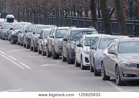 St. Petersburg, Russia - March, 13, 2016: Cars on a parking in St. Petersburg, Russia.