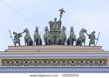 St. Petersburg, Russia - March, 13, 2016: Sculptural group on an arch roof at Palace Square in St. Petersburg, Russia.