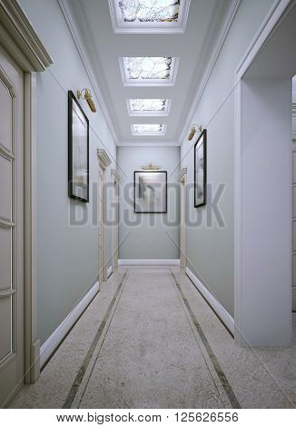 Corridor in classic style, grey walls. 3d render