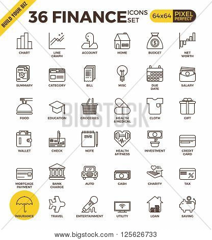 Finance Pixel Perfect Outline Icons
