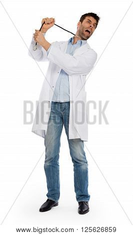 Humorous Portrait Of A Young Depressed Suicidal Surgeon With A Stethoscope On His Neck
