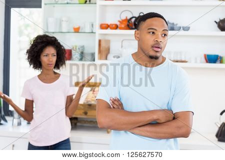 Young couple upset with each other at home