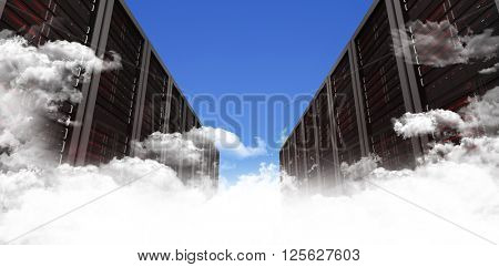 Server hallway against scenic view of blue sky