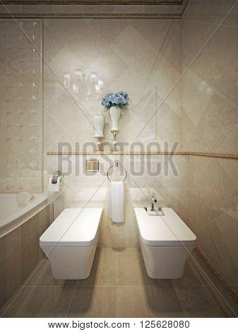Elegant-looking WC with toilet and bidet. 3d render