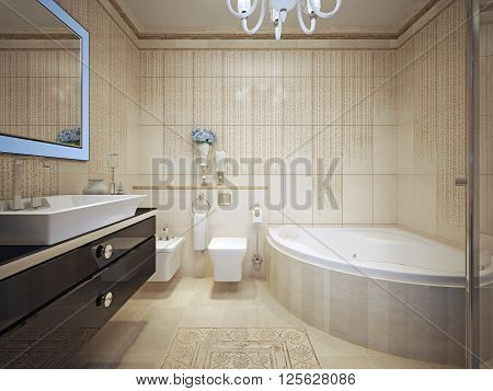 Classic bathroom interior with jacuzzi. 3d render