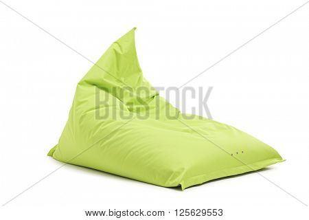 Studio shot of a green beanbag chair isolated on white background