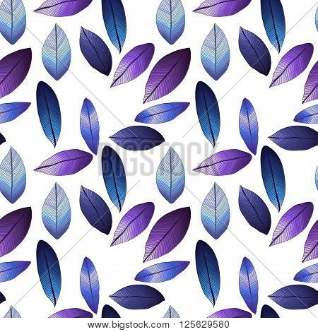 Seamless vector pattern with winter leaves. Frozen. Foliage