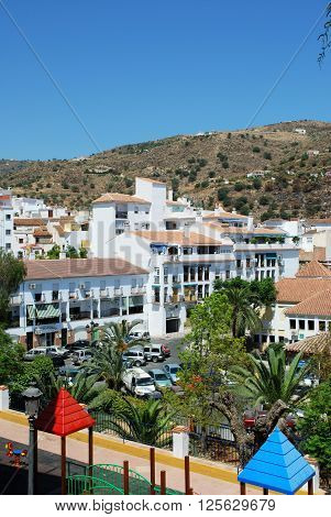 TORROX, SPAIN - JULY 1, 2008 - Elevated view of childrens park area with townhouses to rear Torrox Malaga Province Andalucia Spain Western Europe, July 1, 2008.