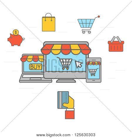 Online shopping communication. Purchasing product via internet