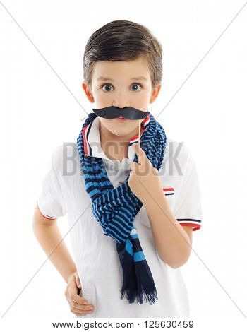 cute boy with paper mustache