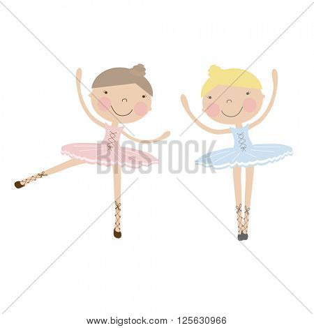 Cute dancing ballerina girls in blue,  and pink dresses. Vector illustration for baby and child wallpapers, textile, posters and clothing prints.Girlfriends in ballet dresses