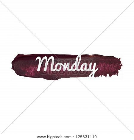 Monday, Day Of The Week. Weekend Vector Word Hand Drawn Illustration Icon Card Isolated Quote
