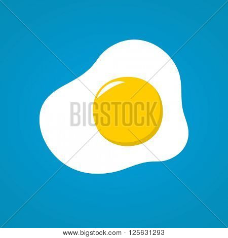 Vector illustration with fried egg in flat style design. Fried egg on blue background