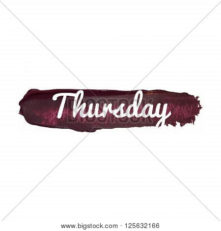 Thursday, Day Of The Week. Weekend Vector Word Hand Drawn Illustration Icon Card Isolated Quote