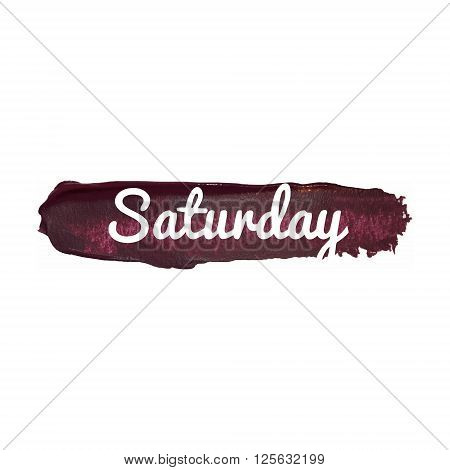 Saturday, Day Of The Week. Weekend Vector Word Hand Drawn Illustration Icon Card Isolated Quote