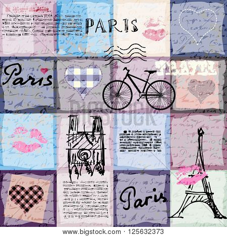 Seamless background pattern. Retro scrapbook collage with a lettering Paris.