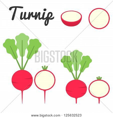 Set of turnip vector ,flat design on white background